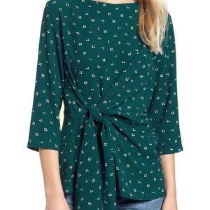 nordstrom - tie front blouse - women's size s